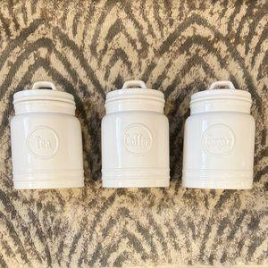 coffee, tea & sugar ceramic jars